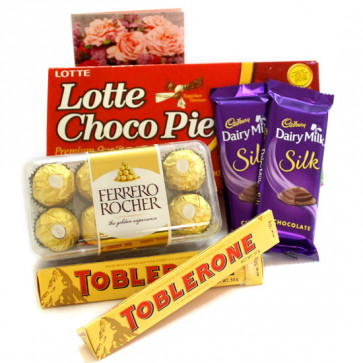 Cutie Pie - Ferrero Rocher 16 Pcs, 2 Toblerone, 2 Dairy Milk Silk, Choco Pie 168 gms and Card