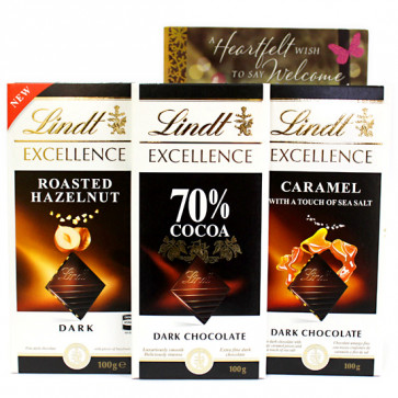 Excellence of Lindt - 3 Lindt Excellence Chocolates and Card