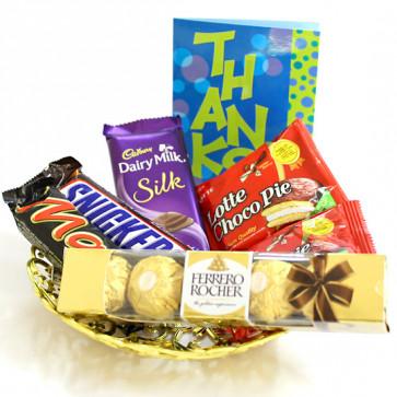 Chocolate Fun - Dairy Milk Silk, Ferrero Rocher 4 Pcs, Snicker, Mars, 2 Choco Pie and Card