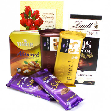 Chocolaty Combo - Vochelle Chocolate, 2 Temptations, Lindt Excellence Chocolates, 2 Dairy Milk Silk and Card