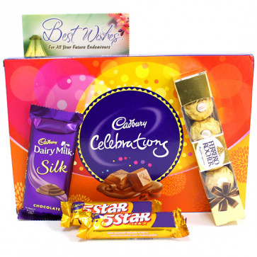 Celebrations N More - Cadbury Celebrations, Ferrero Rocher 4 Pcs, Dairy Milk Silk, 2 Five Star and Card
