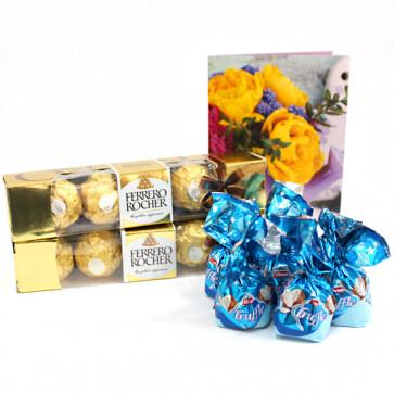 Ferrero Assortment - 2 Ferrero Rocher 4 Pcs, Assorted Truffle Chocolates 100 gms and Card