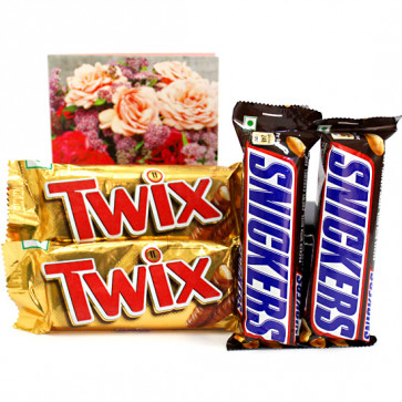 Snickers N Twix - 2 Snickers, 2 Twix and Card