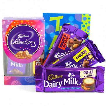 Minis N More - Mini Celebrations, Dairy Milk Fruit n Nut, Dairy Milk Crackle, Dairy Milk Roast Almond and Card