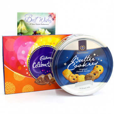 Butterly Celebration - Cadbury Celebrations, Danish Butter Cookies and Card