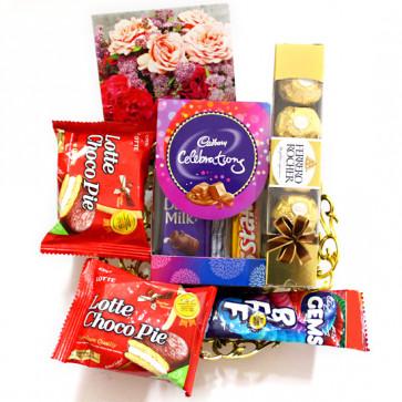 Minis Treat - Ferrero Rocher 4 Pcs, Mini Celebrations, 2 Choco Pie, Gems and Card