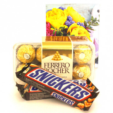 Snicky Chocolate - Ferrero Rocher 16 Pcs, 2 Snicker and Card