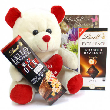 Lindty Softy - Teddy 10 inch, Lindt Excellence Chocolate, Lindt Hello Chocolate and Card