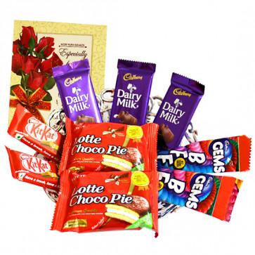 Crunch N Cookies - 3 Dairy Milk, 2 Kit Kat, 2 Choco Pie, 2 Gems and Card