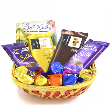 Tempting Silk Chocolaty Basket - 2 Temptations, 2 Dairy Milk Silk, Hand Made Chocolates 100 gms and Card