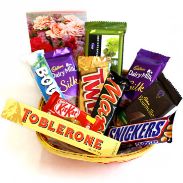 Choco Chunky Basket - Temptations, Toblerone, 2 Dairy Milk Silk, Snickers, Mars, Twix, Bounty, Bournville, Kit Kat and Card