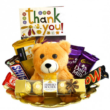 Milk Silk N More - Teddy 6 inch, Ferrero Rocher 4 Pcs, Temptations, Dairy Milk Silk, Dairy Milk (L), Snickers, Mars, Kit Kat and Card