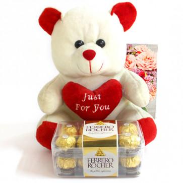 Teddy Rocher - Teddy 10 inch, Ferrero Rocher 16 Pcs and Card