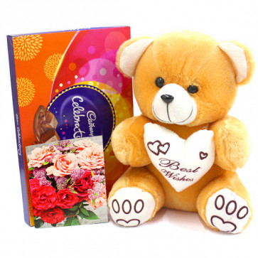 Superb Combo - Teddy 10 inch, Cadbury Celebrations and Card