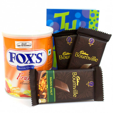 Dark Love - Fox's Fruits Flavoured Tin, 3 Bournville and Card