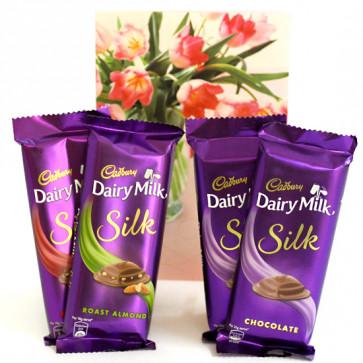 Silky Trio - 2 Dairy Milk Silk Chocolate, Dairy Milk Silk Fruit n Nut, Dairy Milk Silk Roast Almond and Card