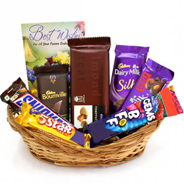5 Star Treat - Bournville, Temptations, Dairy Milk Silk, Dairy Milk Fruit n Nut, Snicker, Five Star, Gems and Card