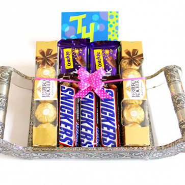 Awesome Threesome - 2 Ferrero Rocher 4 Pcs, 2 Dairy Milk Crackle, 3 Snicker and Card
