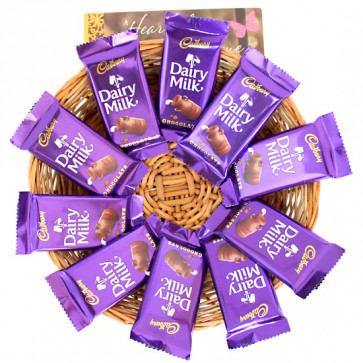 Ten of Them - 10 Dairy Milk in Basket and Card