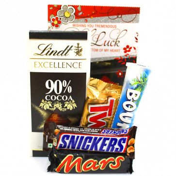 Lindt N Bars - Lindt Excellence Chocolate, Snickers, Mars, Twix, Bounty and Card