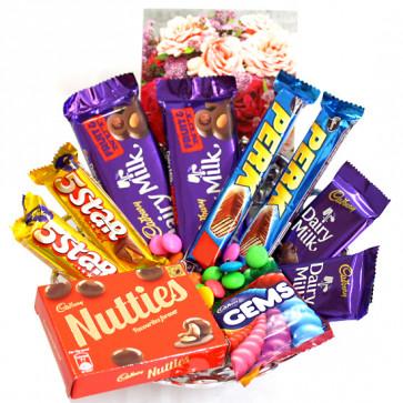 Nutties N Others - 2 Dairy Milk Fruit n Nut, 2 Dairy Milk, 2 Five Star, 2 Perk, Cadbury Nutties, Gems and Card