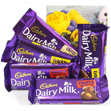 Dairy Milks - 2 Dairy Milk Fruit n Nut, 2 Dairy Milk Crackle, Dairy Milk Roast Almond and Card