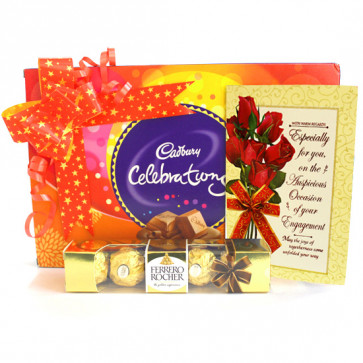 Goldy Celebration - Cadbury Celebrations, Ferrero Rocher 4 Pcs and Card