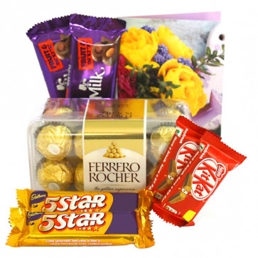 Ferrero N Chocolates - Ferrero Rocher 16 Pcs, 2 Dairy Milk Fruit n Nut, 2 Kit Kat, 2 Five Star and Card