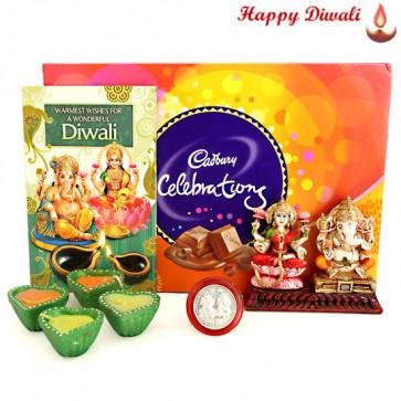 Joyous Fest - Cadbury Celebrations, Lakshmi Ganesha Idols with 4 Diyas and Laxmi-Ganesha Coin