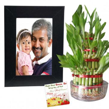 Good Luck Keepsake - 2 Layer Lucky Bamboo, Photo Frame & Card