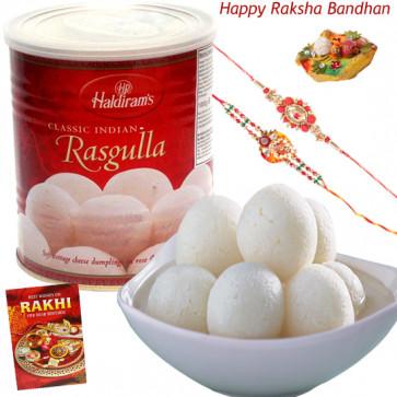 Festive Sweet - Rasgulla 500 gms with 2 Rakhi and Roli-Chawal
