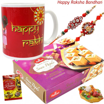 Haldiram Time - Haldiram Soan Papdi, Happy Rakhi Mug with 2 Rakhi and Roli-Chawal