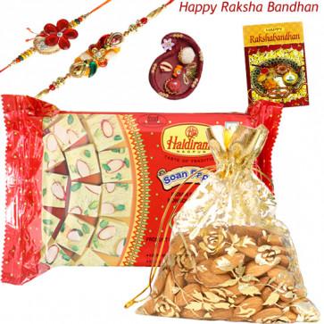 Almondy Papdi - Haldiram Soan Papdi 500 gms, Almonds 100 gms in Potli with 2 Rakhi and Roli-Chawal