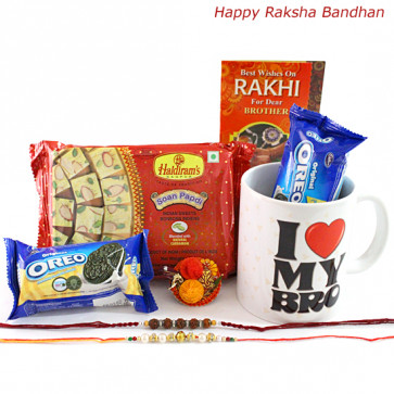 Sweets N Cookies - Haldiram Soan Papdi, I Love My Bro Mug, 2 Oreo Cookies with 2 Rakhi and Roli-Chawal
