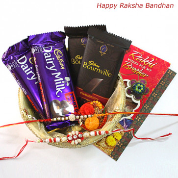 Dark N Nutty - 2 Bournville, 2 Cadbury Dairy Milk Fruit & Nut all in Basket with 2 Rakhi and Roli-Chawal