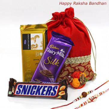 Rakhi Choco Temptations - Temptations, Cadbury Dairy Milk Silk, Snickers in a Potli (D) with 2 Rakhi and Roli-Chawal