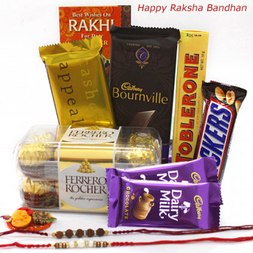All About Chocolates - Ferrero Rocher 16 Pcs, Temptations, Bourneville, Toblerone, Snickers, 2 Dairy Milk with 2 Rakhi and Roli-Chawal
