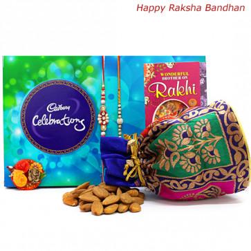 Almondy Celebration - Almonds 100 gms in Potli (D), Celebrations with 2 Rakhi and Roli-Chawal