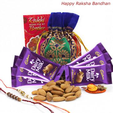 Kaju Chocolaty - Almonds 100 gms in Potli (D), 6 Dairy Milk with 2 Rakhi and Roli-Chawal