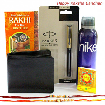 Rakhi Gift - 1 Nike Deo, 1 Parker Beta Standard Ball Pen, Leather Black Wallet with 2 Rakhi and Roli-Chawal