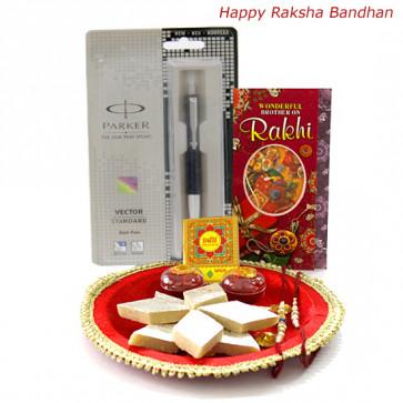 Thali Hamper - Pooja Thali (M), Parker Vector Standard Ball Pen, Kaju Katli with 2 Rakhi and Roli-Chawal