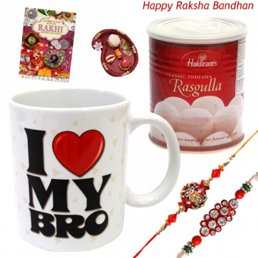 Sweet Blast - Haldiram's Rasgulla 500 gms, I Love My Bro Mug with 2 Rakhi and Roli-Chawal