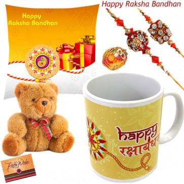 Tender Rakhi Love - Happy Rakshabandhan Cushion, Happy Rakshabandhan Mug, Teddy 6 inch with 2 Rakhi and Roli-Chawal