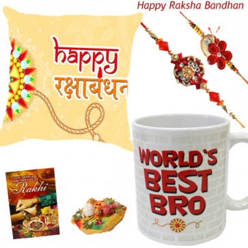 Cushiony Mug - Happy Rakshabandhan Cushion, World's Best Bro Mug with 2 Rakhi and Roli-Chawal