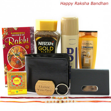 Love for Brother - Leather Black Wallet, Nescafe Gold Blend 50 gms, Visiting Card Holder, I Love You Bro Wooden Keychain, Lomani Do It Deo, Loreal Shampoo with 2 Rakhi and Roli-Chawal