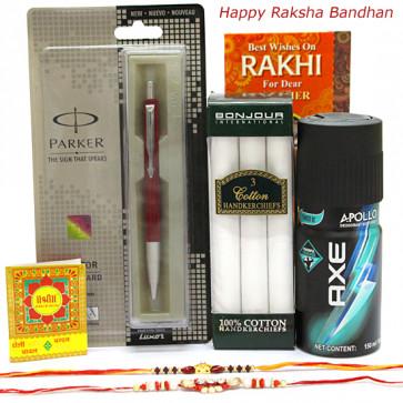 Accessorize Well - 1 Parker Vector Standard Ball Pen, Bonjour Set of 3 Cotton Hankerchiefs, AXE Deo for Men with 2 Rakhi and Roli-Chawal