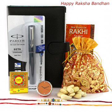 Time of Gifts - Table Clock, Parker Beta Standard Ball Pen, Leather diary, Kaju 200 gms in Potli with 2 Rakhi and Roli-Chawal