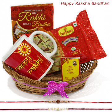 Treat for Brother - Happy Rakhi Mug, Soan Papdi, Basket with 2 Rakhi and Roli-Chawal
