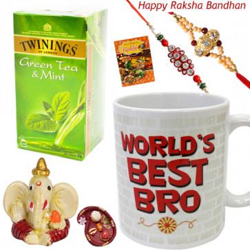 Tea Time - World's Best Bro Mug, Twinings Green Tea - 25 Tea Bags, Ganesh Idol with 2 Rakhi and Roli-Chawal