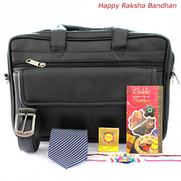Formal Gifts - Black Office Bag, Leather Black Belt, Blue Tie with 2 Rakhi and Roli-Chawal